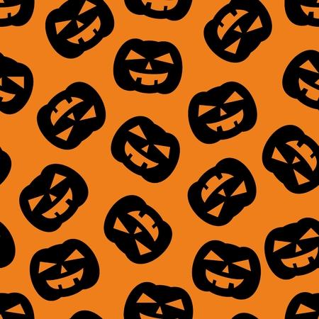 fruit: Halloween tile vector pattern with black pumpkin on orange background