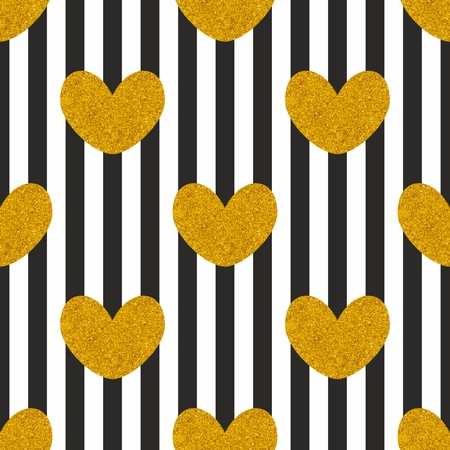 golden: Tile vector pattern with black and white stripes and golden hearts background Illustration