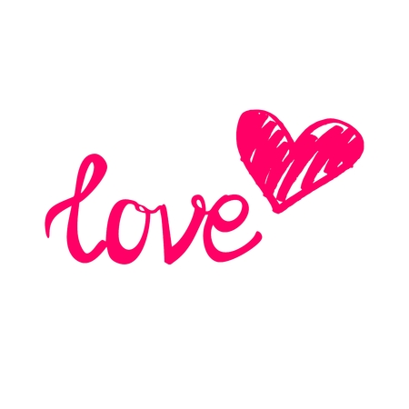 heart sign: Pink love vector sign with heart isolated on white background