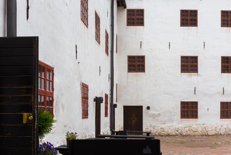 Facade of medieval Turku Castle in Finland Editorial