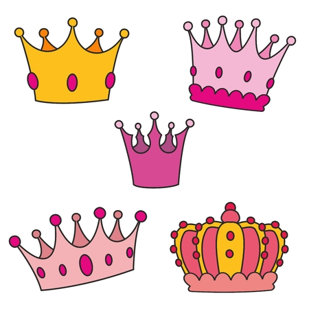 Pastel crown vector set isolated on white background