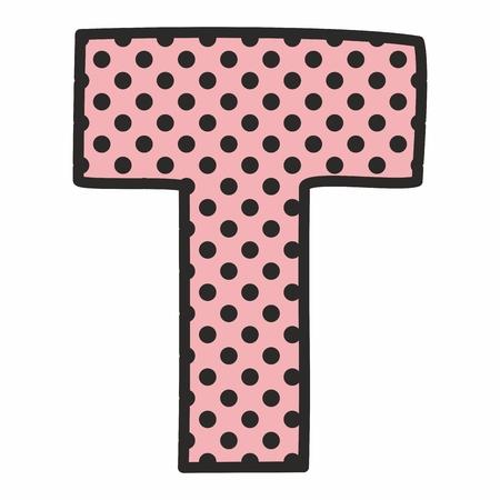 sketch: T vector alphabet letter with black polka dots on white background Illustration