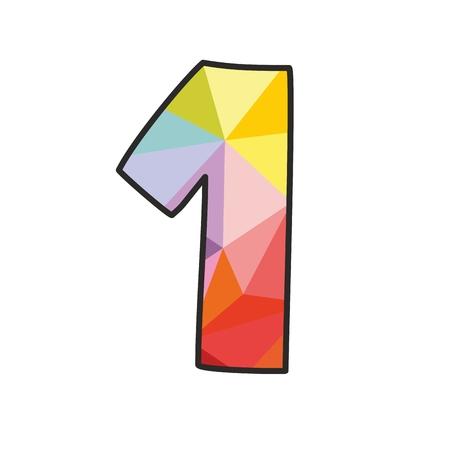 Colorful flat number 1 isolated on white background Illustration
