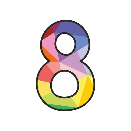 Colorful flat number 8 isolated on white background