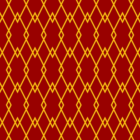 gold textured background: Tile vector pattern with yellow print on red background Illustration