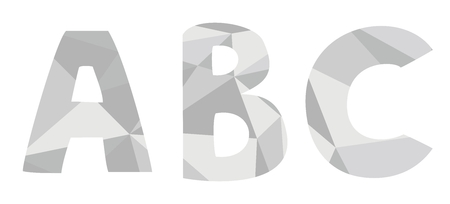 A, b, c low poly wrapping surface pastel grey vector alphabet letter isolated on white background