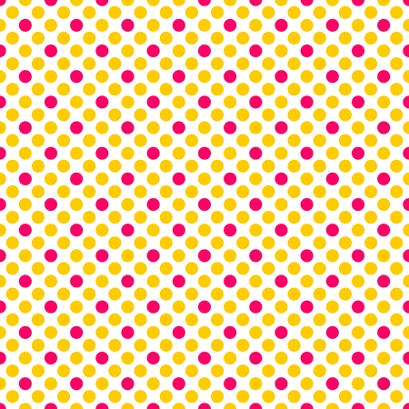 textured backgrounds: Tile vector pattern with pink and yellow polka dots on white background