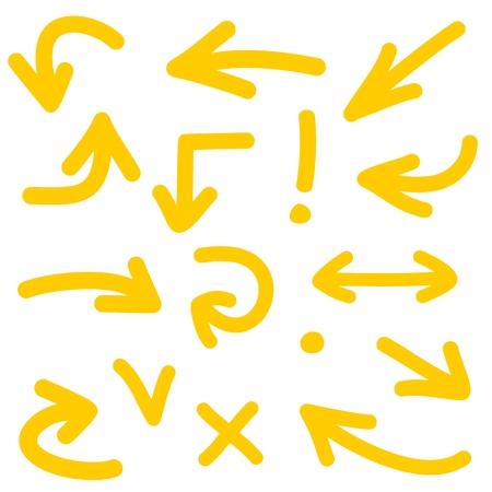흰색 배경에 고립 된 노란색 화살표 벡터 아이콘 세트