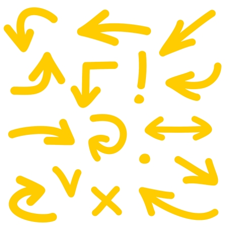 Yellow arrow vector icon set isolated on white background Vectores