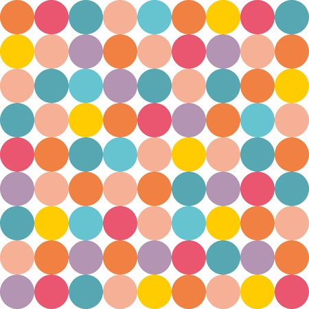 decorate: Tile vector pattern with pastel colorful polka dots on white background Illustration