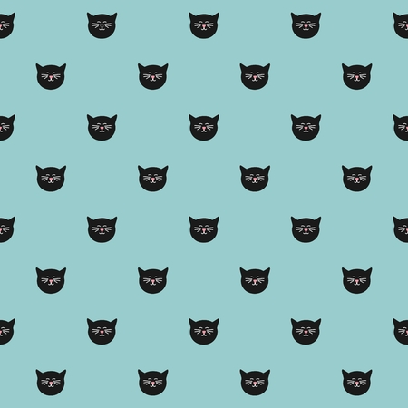 grey cat: Tile vector pattern with cats on mint green background