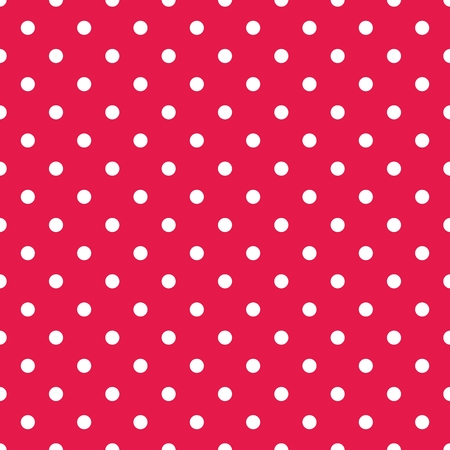 tile: Tile vector pattern with white polka dots on red background
