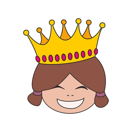 pampered: Happy little princess head in crown vector illustration isolated on white background Illustration