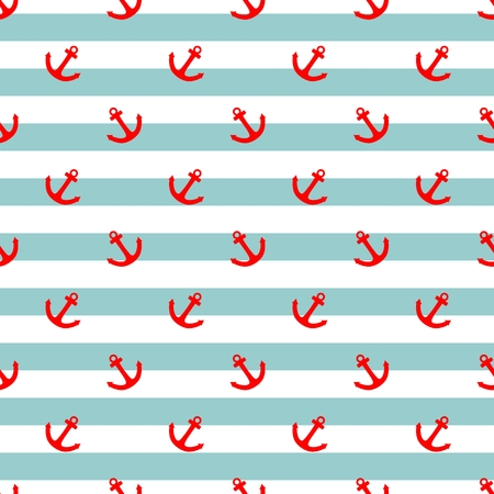 fashion: Tile sailor vector pattern with red anchor and mint green and white stripes background