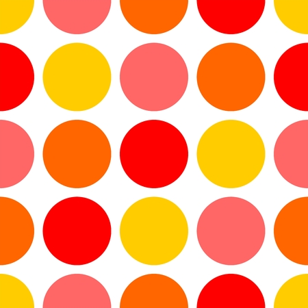 Tile pattern with yellow, pink and red dots on white background Illustration