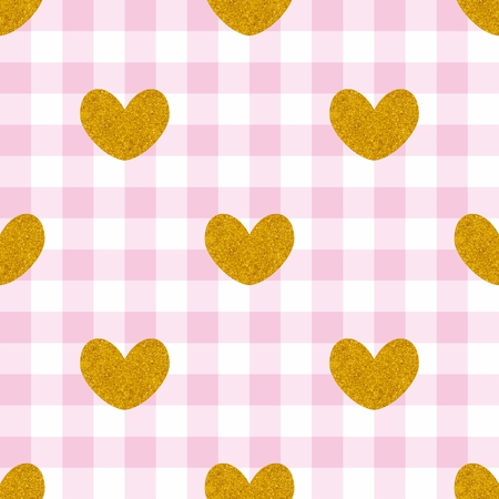 Tile vector pattern with golden hearts on pink plaid decoration background