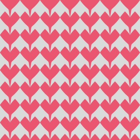 texture: Tile vector pattern with pink hearts on dark background for seamless decoration wallpaper