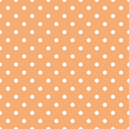 xmas background: Tile vector pattern with white polka dots on orange background Illustration