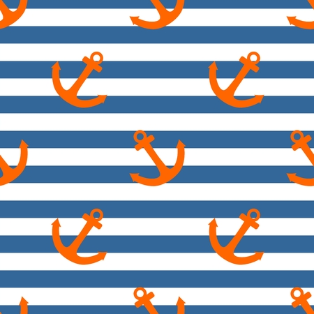Tile sailor vector pattern with orange anchor on navy blue and white stripes background