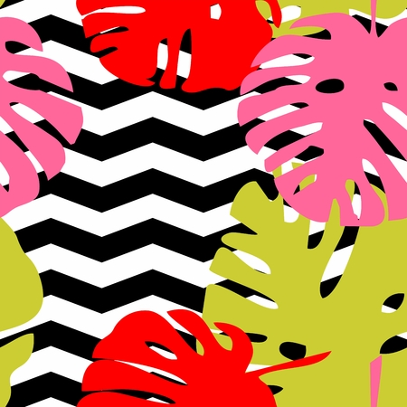 palm: Tile tropical vector pattern with green exotic leaves on black and white chevron background Illustration