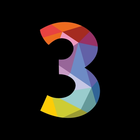 numbers abstract: Colorful vector number 3 isolated on black background Illustration
