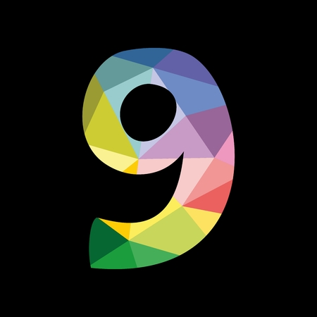 Colorful vector number 9 isolated on black background
