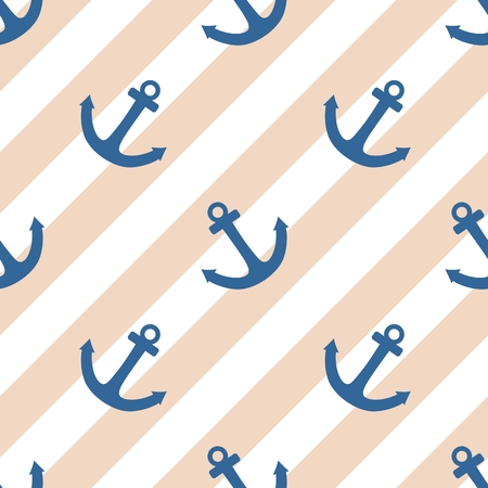 navy blue background: Tile sailor vector pattern with blue anchor and white stripes on pastel background Illustration