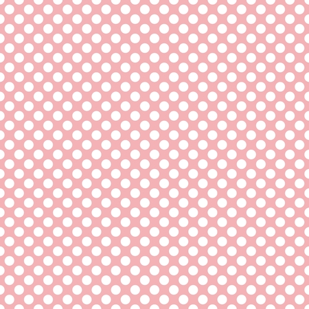 pale colors: Tile vector pattern with white polka dots on pastel pink background Illustration