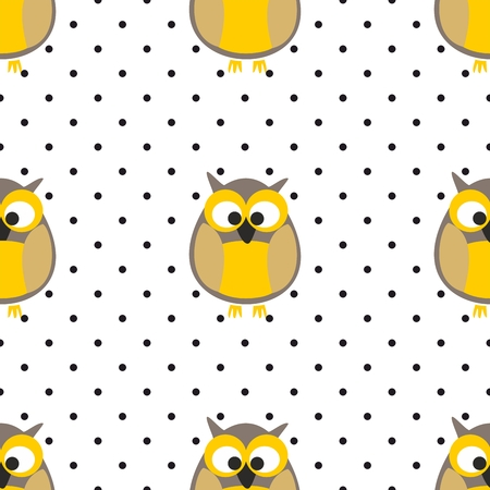 gray dot: Tile vector pattern with owls and polka dots on white background Illustration