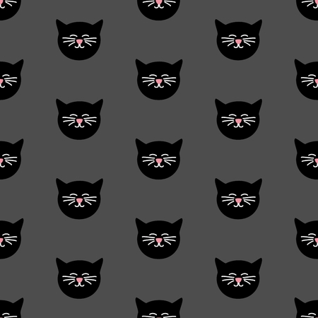 modern background: Tile vector pattern with black cats on grey background