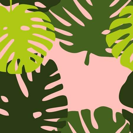 Tile tropical vector pattern with green exotic leaves on pink background Illustration