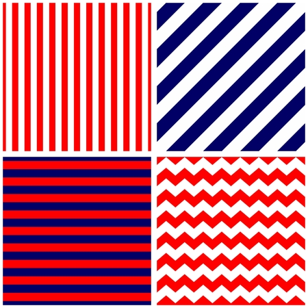 texture: Tile vector pattern with chevron zig zag and blue, red and white stripe background for seamless decoration wallpaper Illustration