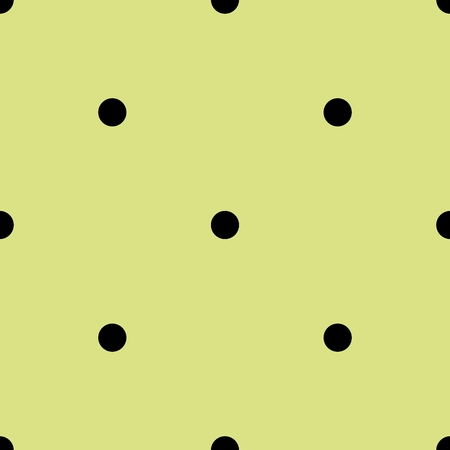 texture: Tile spring vector pattern with black polka dots on green background.