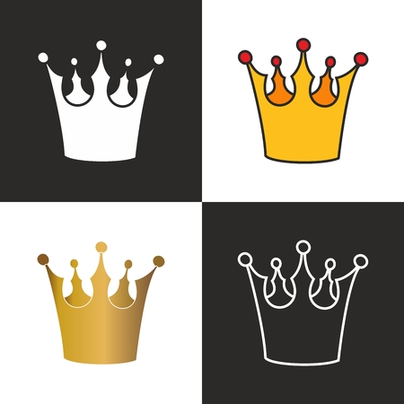 Crown vector set isolated on black and white background