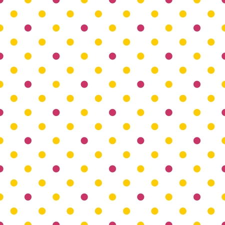 tile: Tile vector pattern with yellow and pink polka dots on white background