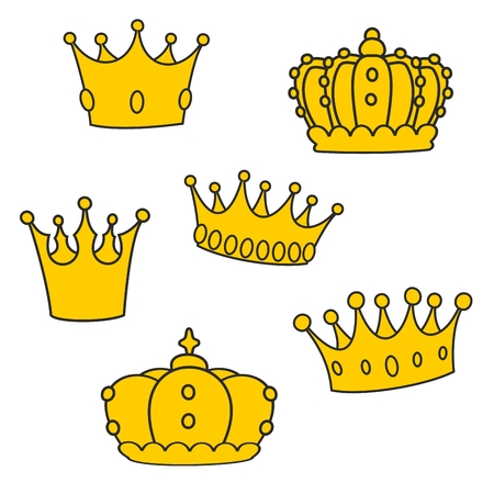 yellow: Crown vector set isolated on white background