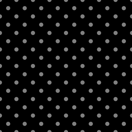 Tile vector pattern with grey polka dots on black background.