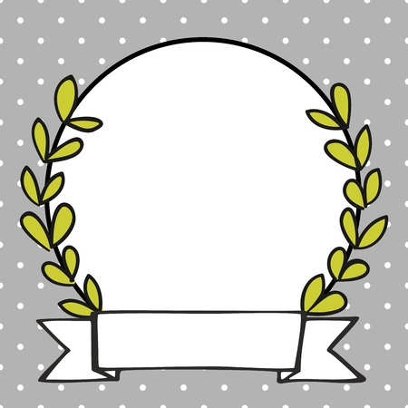 Laurel wreath vector photo frame with white polka dots on grey background
