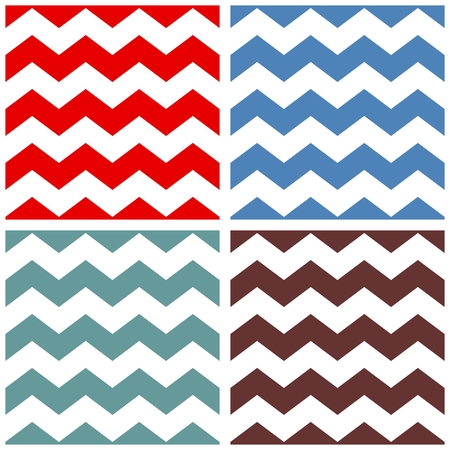 Tile vector pattern set with white, red, blue, green and brown zig zag background Illustration
