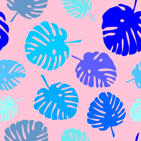 tile: Tile tropical vector pattern with green exotic leaves on pink background Illustration
