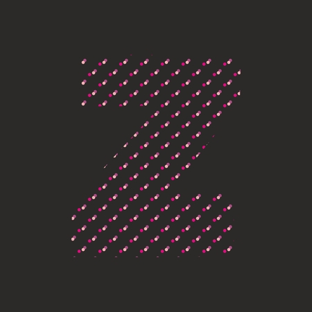 layout: Z dotted alphabet vector letter isolated on black background Illustration