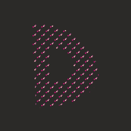 violet red: D dotted alphabet vector letter isolated on black background