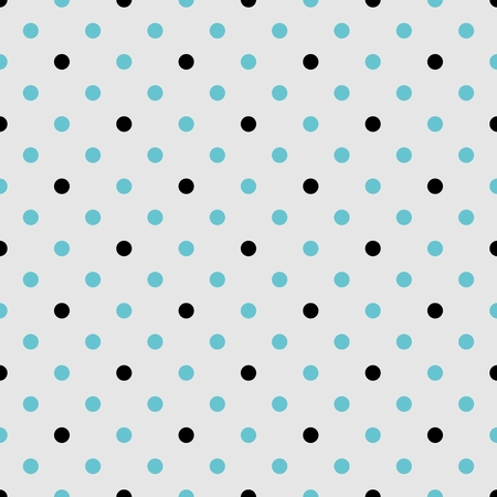 spot: Tile vector pattern with black and mint blue polka dots grey background