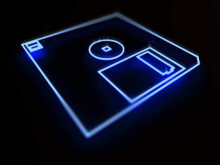 フロッピー ディスクは、黒の背景に 3 d のネオンをドライブします。 写真素材
