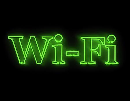 mobile communication: Wi-fi internet icon isolated on black background Stock Photo