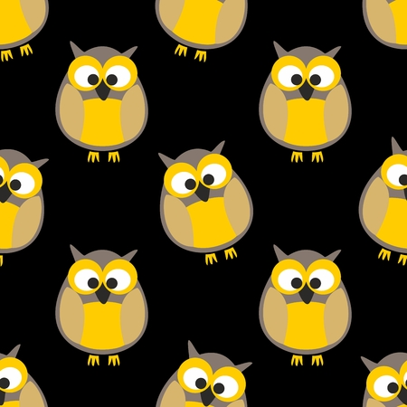 website backgrounds: Tile vector pattern with owls on black background