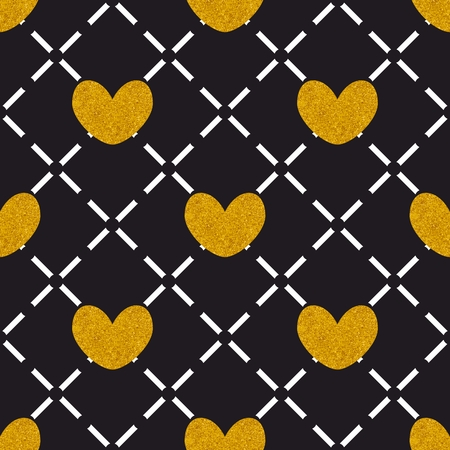 Tile quilted vector pattern with golden hearts on black background Illustration