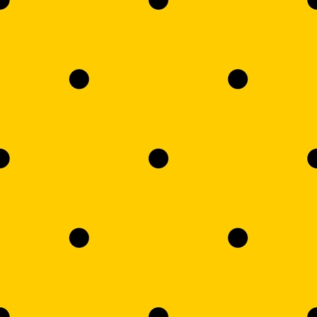 Tile vector pattern with black polka dots on yellow background.