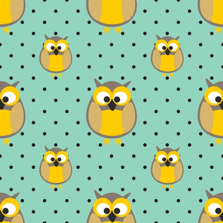 Owls and polka dots pattern on mint green backdrop.