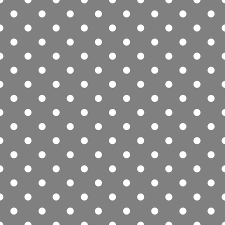 Tile vector pattern with white polka dots on grey background Illustration